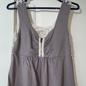 Imaginary Voyage lace zip-front tank